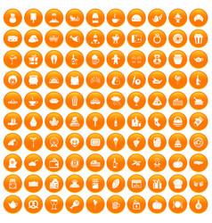 100 bounty icons set orange vector