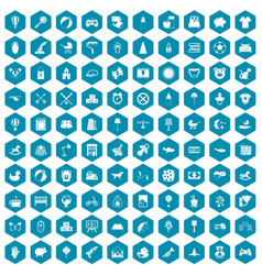 100 nursery icons sapphirine violet vector image