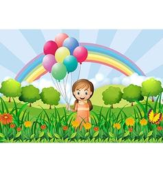 A girl with balloons vector