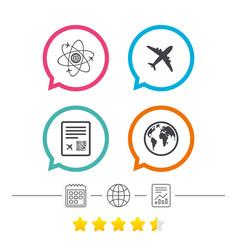 airplane icons world globe symbol vector image