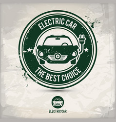 alternative electric car stamp vector image