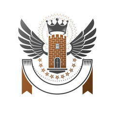 ancient bastion emblem heraldic design element vector image