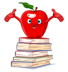 Apple character on pile of books vector