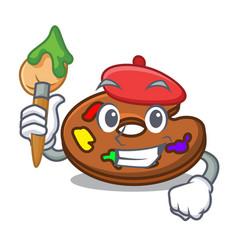 Artist palette character cartoon style vector