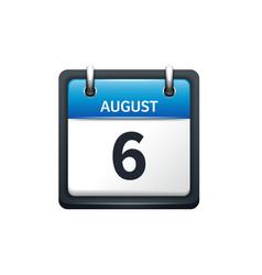 August 6 Calendar icon flat vector