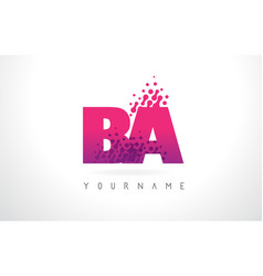 ba b a letter logo with pink purple color and vector image