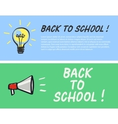 Back to school logo with light bulb and megaphone vector image