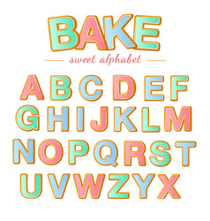 baked color letters christmas gingerbread cookies vector image