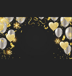 Balloon of happy new year gold and black colors vector