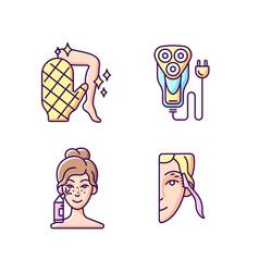 Beauty appliances rgb color icons set vector