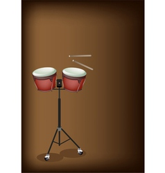 Bongo on Stand with Dark Brown Background vector