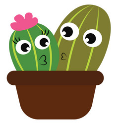 Boy and girl cactus plants in a brown flower pot vector