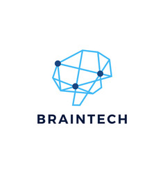 brain technology connection geometric polygonal vector image
