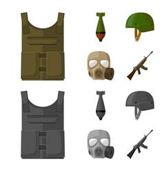 Bullet-proof vest mine helmet gas mask vector
