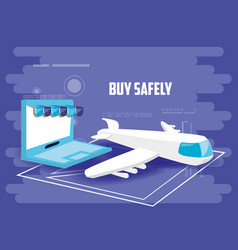 Buy safely online with laptop vector
