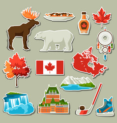 Canada sticker icons set vector