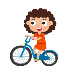 Cartoon curly girl riding a bike having fun riding vector