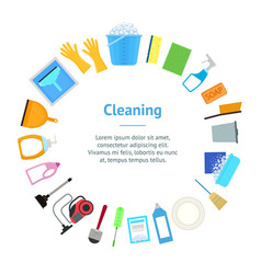 cartoon household cleaning banner card circle vector image