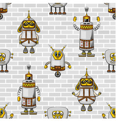 cartoon robots seamless vector image