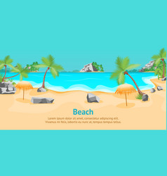 cartoon tropical beach summer landscape card vector image