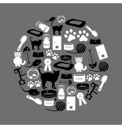 Cats pets items simple black and white icons in vector