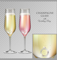 champagne glass with diamond wedding ring vector image