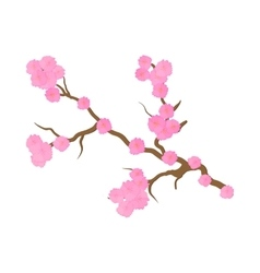 Cherry blossom sakura flowers icon cartoon style vector