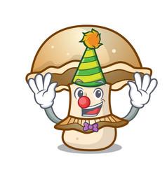 clown portobello mushroom mascot cartoon vector image