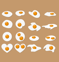 collection of fried egg vector image