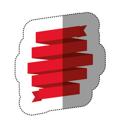 Color sticker of red ribbon in a shape spiral vector