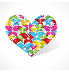 Colorful butterfly make a heart vector image