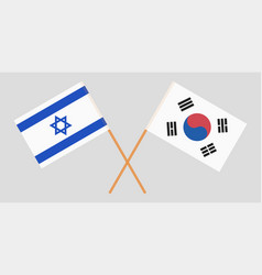 Crossed flags south korea and israel vector