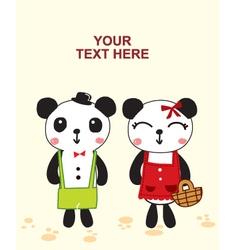 Cute couple panda vector
