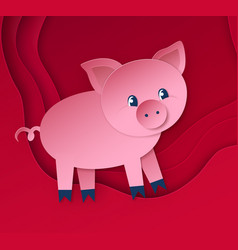 cute new year pig character vector image