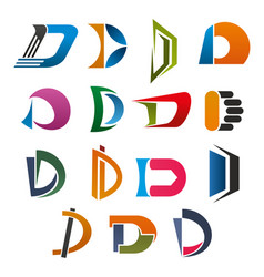 D icon of abstract letter font for business design vector