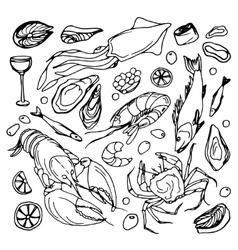 Doodle sea food vector image