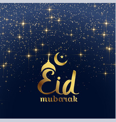 eid mubarak festival card with stars and sparkles vector image