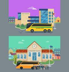 elementary and high school flat concepts vector image