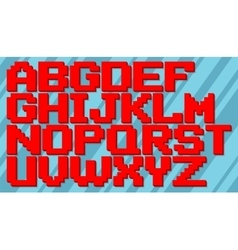 English red and blue pixel alphabet set vector image