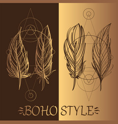 feathers a set of elements in the style of boho vector image