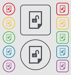File unlocked icon sign symbols on the round and vector