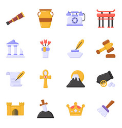 Flat icons ancient equipment in editable style vector
