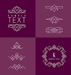 Frame and Design Elements Mono Line Geometric vector image