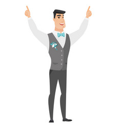 Groom standing with raised arms up vector