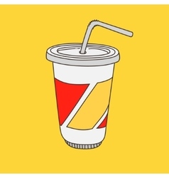 Hand-drawn cartoon-style cup with drink vector