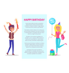 happy birthday invitation man and woman greetings vector image