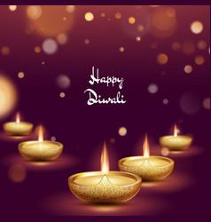Happy diwali diya oil lamp template indian vector