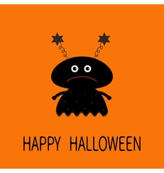 Happy halloween card black silhouette girl monster vector