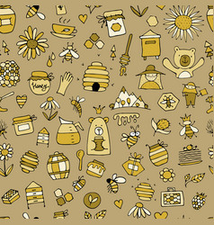 honey apiary seamless pattern sketch for your vector image