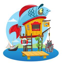 house fisherman cartoon of a wooden hut on stilts vector image